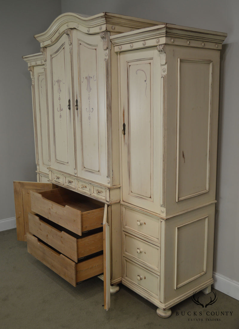 Cottage Style Custom Painted Large Bedroom Armoire