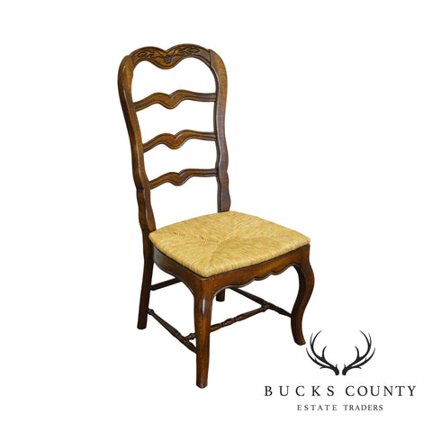 French Country Style Ladder Back Rush Seat Side Chair by Hickory