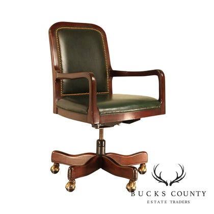 Hancock & Moore Mahogany & Green Leather Office Desk Chair