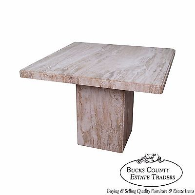 Mid Century Italian Travertine Square Marble Dining Table