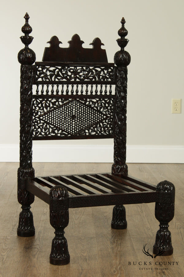 Antique Indian Hand Carved Low Pidda Chair