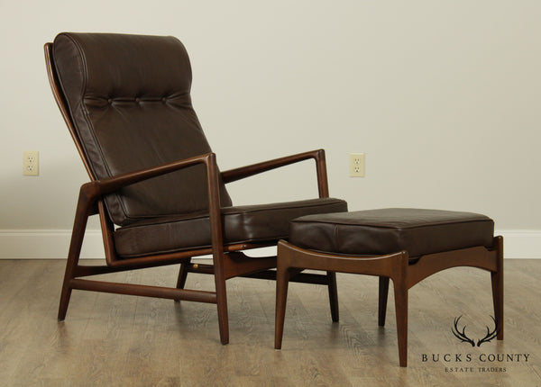 Kofod Larsen For Selig Danish Modern Reclining Lounge Chair w/ Ottoman