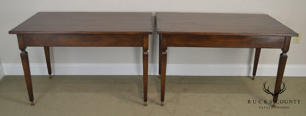 Italian Walnut Pair Louis XVI Style Hall Tables