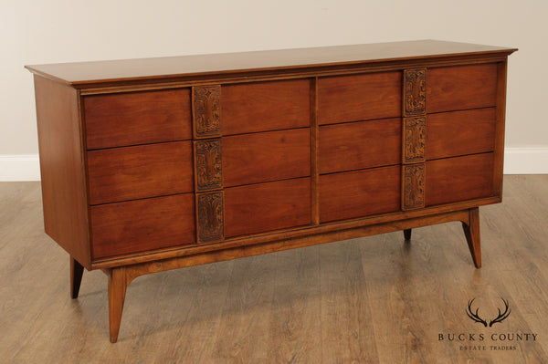 Bassett Mayan Collection Mid Century Modern Walnut 6 Drawer Dresser