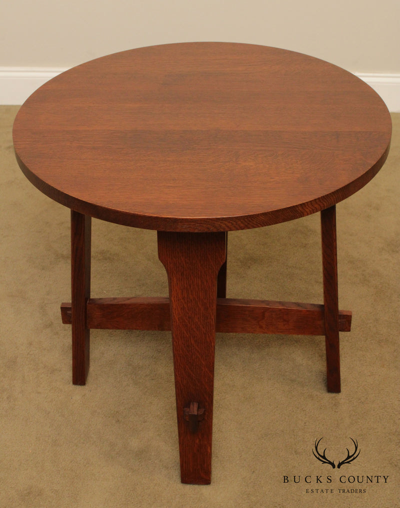 Stickley Mission Collection Oak Gus Round Lamp Table