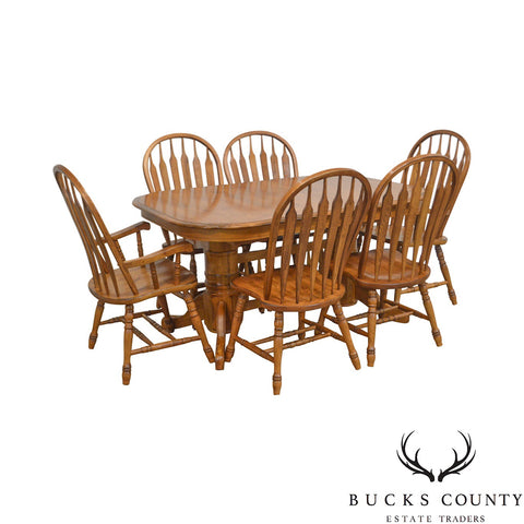 Traditional Solid Oak 11 piece Dining Set & Table w/ 10 Arrow Back Windsor Chairs