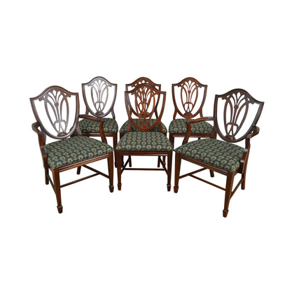 Hepplewhite Style Vintage 1940's Set of 6 Mahogany Dining Chairs