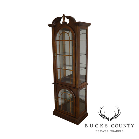 Traditional Cherry Narrow Curio Display Cabinet