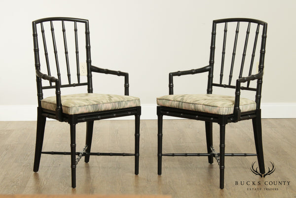 Faux Bamboo Vintage Pair of Black Lacquered Armchairs