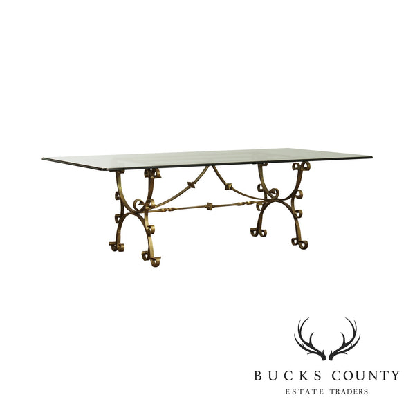 Hand Forged Iron Italian Baroque Style Glass Top Dining Table