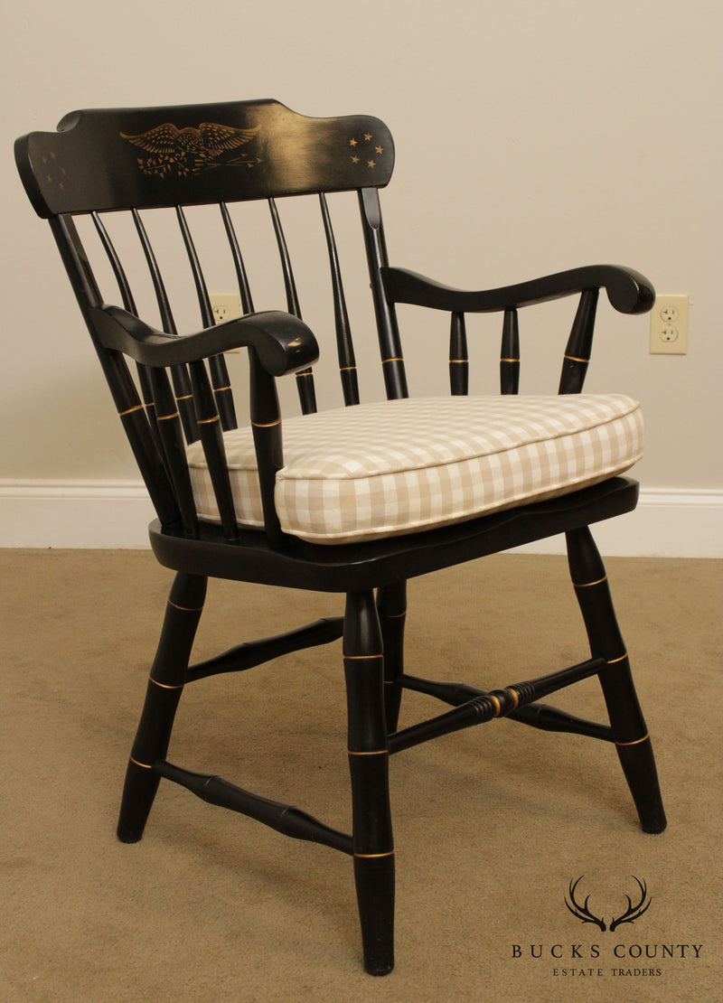 S. Bent & Bros Hitchcock Style Black, Gold Stenciled Windsor Armchair