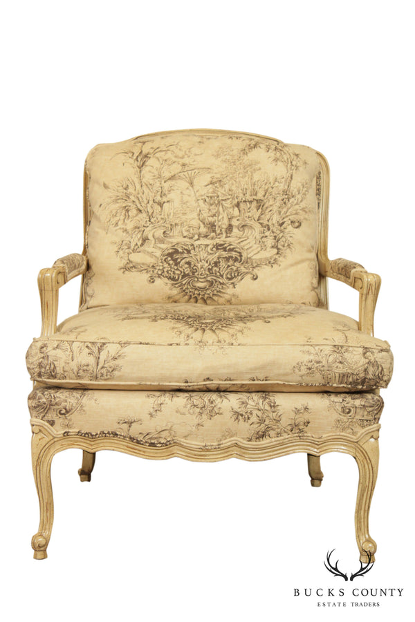 French Louis XV Style Custom Toile Upholstered Bergere Chair