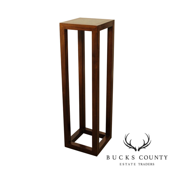 Modern Asian Style Stone Top Wood Pedestal Plant Stand