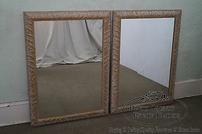 Vintage Pair of Hollywood Regency Carved Frame Hanging Wall Mirrors