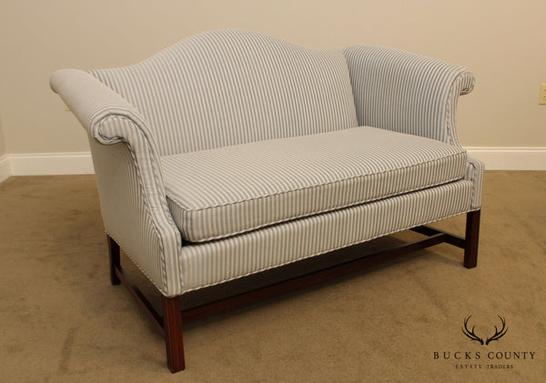 Hickory Chair Mahogany Custom Upholstered Chippendale Style Loveseat
