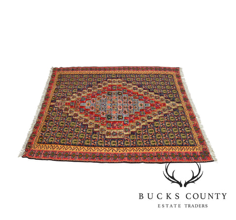 Vintage Multicolor 4' x 5' Hand Tied Turkish Kilim Rug