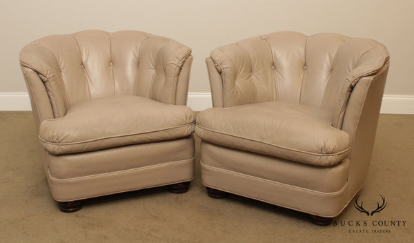 Hancock & Moore Vintage Pair Tufted Club Chairs