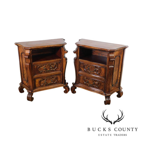 Italian Renaissance Vintage Pair Carved Walnut 2 Drawer Commodes Nightstands