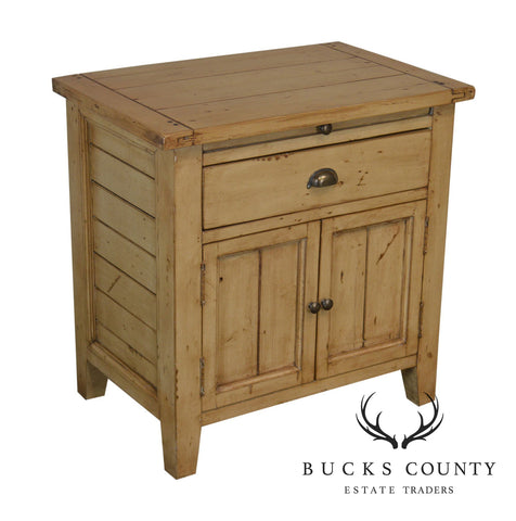 Rustic Painted Pine One Drawer Cabinet Nightstand