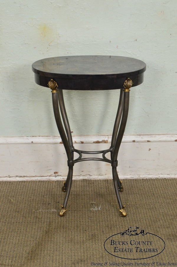 Ethan Allen Regency Style Faux Tessellated Horn Oval Side Table