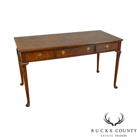 Baker Burl Wood Traditional Queen Anne 3 Drawer Writing Desk