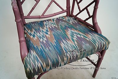 Hollywood Regency Faux Bamboo Chinese Chippendale Lavender Painted Arm Chair