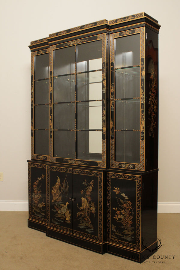 Drexel Heritage Et Cetera Black & Gold Asian Chinoiserie Breakfront