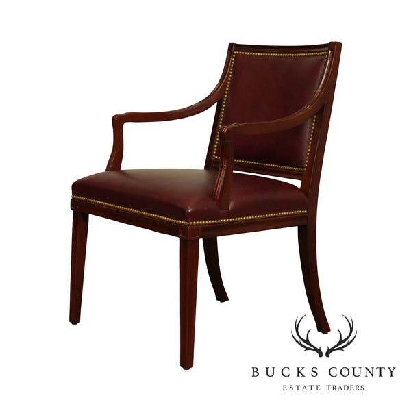 Hancock & Moore Mahogany Regency Style Oxblood Leather Smith Visitor's Armchair
