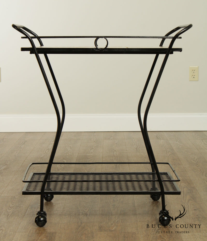 Mid-Century Modern Wrought Iron Tile Top Serving Cart, Trolly