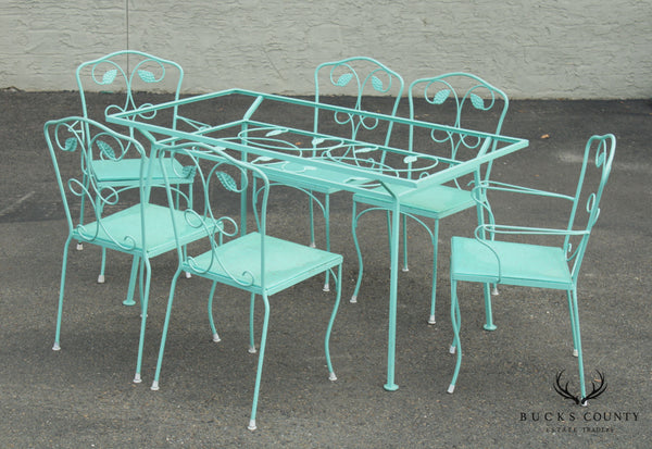 Mid Century Modern Wrought Iron Patio Dining Set, Table + 6 Chairs