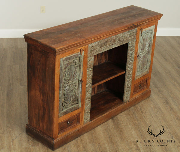Antique Indian Salvaged Hardwood Bookcase Console Cabinet