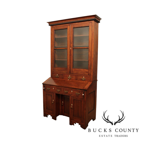 Antique 19th Century Solid Walnut Victorian Era Bookcase Secretary Desk