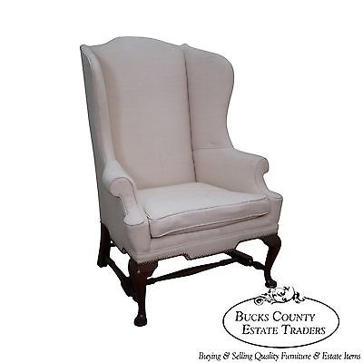 Biggs Kittinger Mahogany 18th Century Style Queen Anne Wing Chair