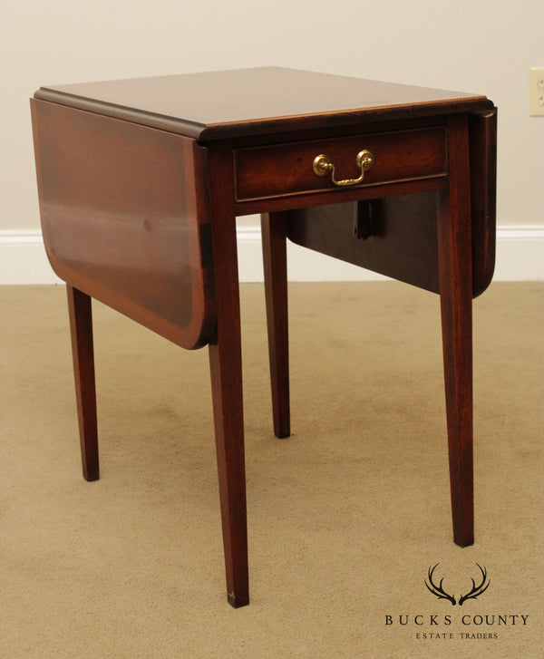 Hepplewhite Style Vintage Mahogany Drop Leaf Pembroke Side Table
