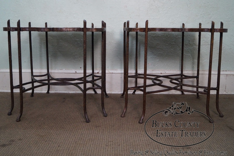 Quality Faux Branch Iron Base Painted End Tables