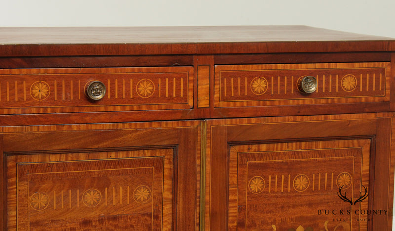 Antique English Mahogany Marquetry Inlaid Server Cabinet