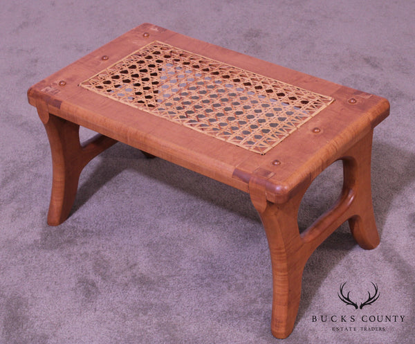 Tiger Maple Custom Crafted Small Cane Seat Footstool