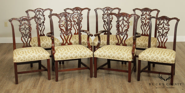 Chippendale Style Solid Mahogany Set 8 Dining Chairs