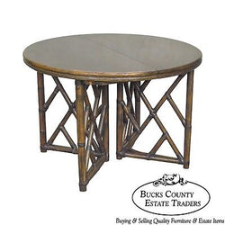Ficks Reed Round Rattan Dining Table w/ 2 Leaves