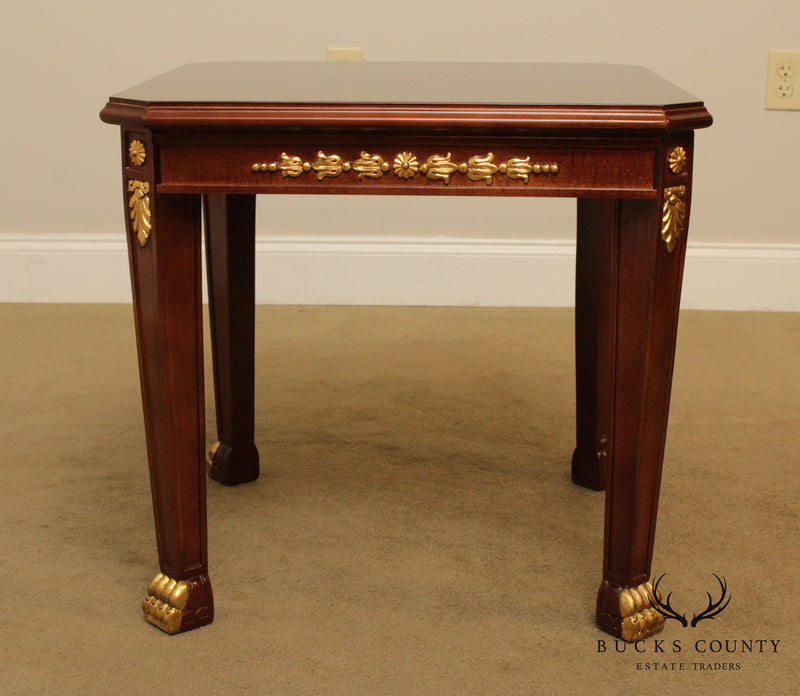 Empire Style Partial Gilt Pair Square Side Tables