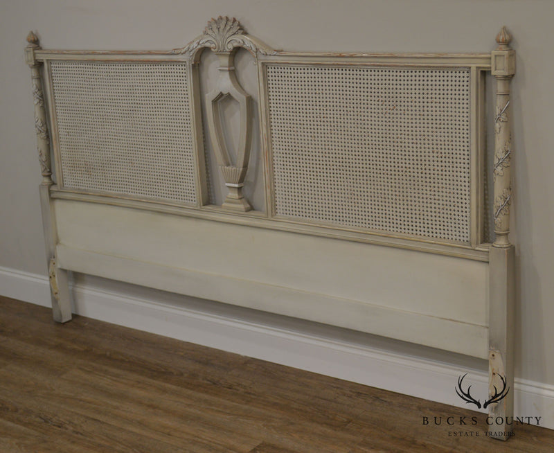 French Louis XVI Style Vintage Custom Quality Painted Cane King Headboard