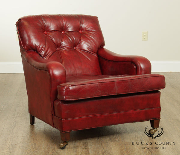 Lackawanna Leather Vintage Red Tufted Lounge Chair
