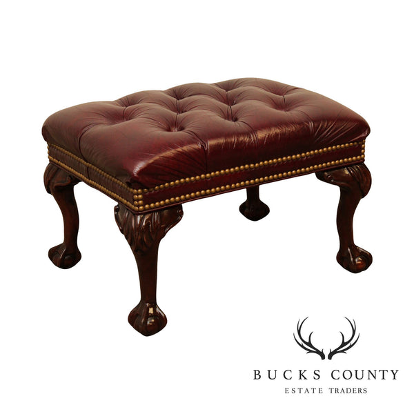 Hancock and Moore Chippendale Style Mahogany Ball & Claw Tufted Leather Ottoman