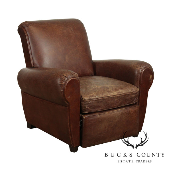 Restoration Hardware Distressed Brown Leather Recliner
