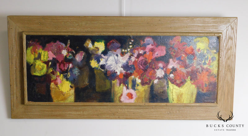 Three Vases of Flowers Abstract Acrylic Painting on Board by Suzanne Steiner