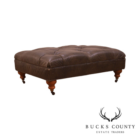Regency Style Reptile Embossed Tufted Brown Leather Ottoman