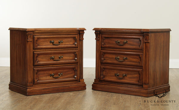 Davis Vintage Cherry Pair French Country 3 Drawer Chest Nightstands