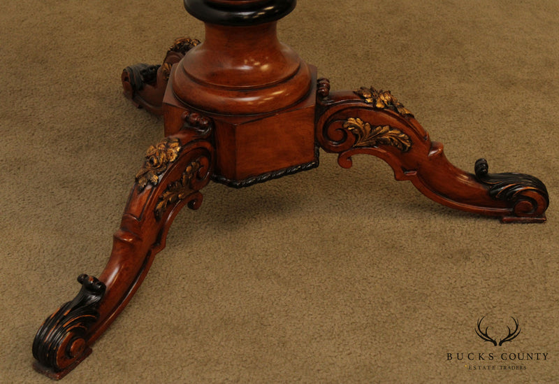 Quality Italian Marquetry Inlaid Round Pedestal Side Table
