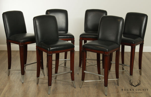 Thomasville Bogart Collection Set 6 Black Leather, Burlwood Bar Stools