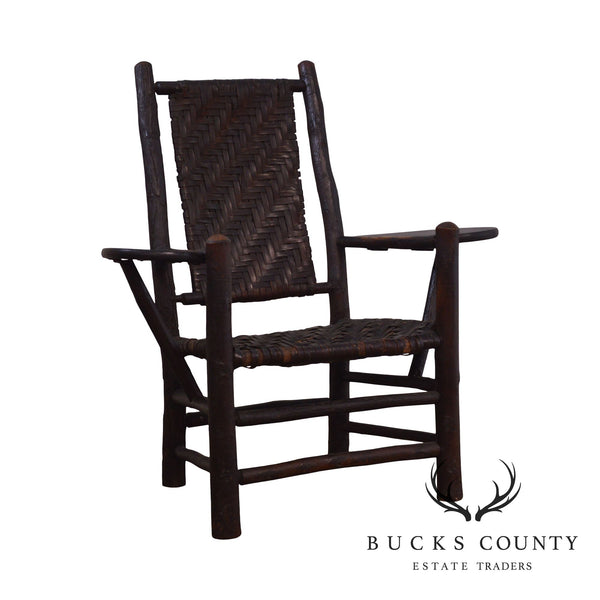 Old Hickory Antique Rustic Drop Side Student Armchair